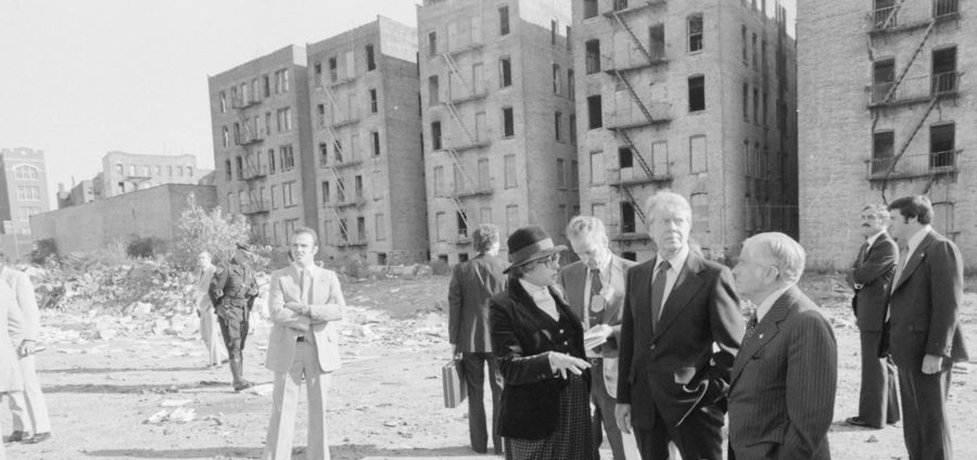 Cover Photo: US President Jimmy Carter tours the South Bronx, 1977.