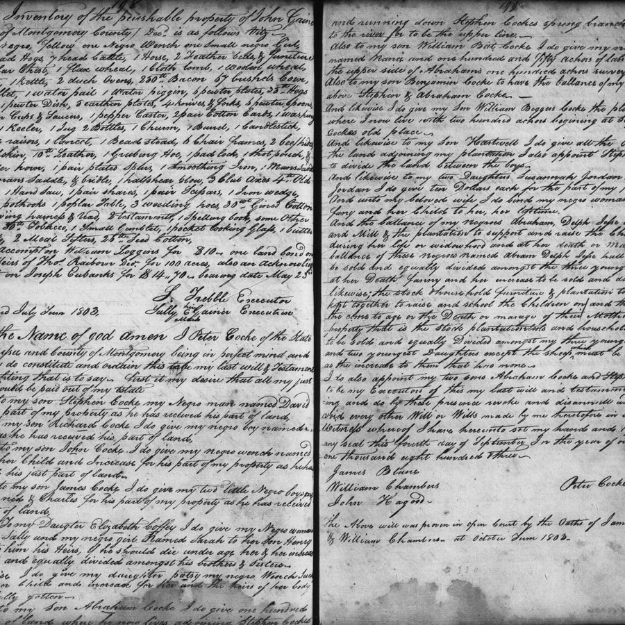 Cover Photo: The will of Peter Cocke, Jona Whipple's seventh great-grandfather, from 1803.