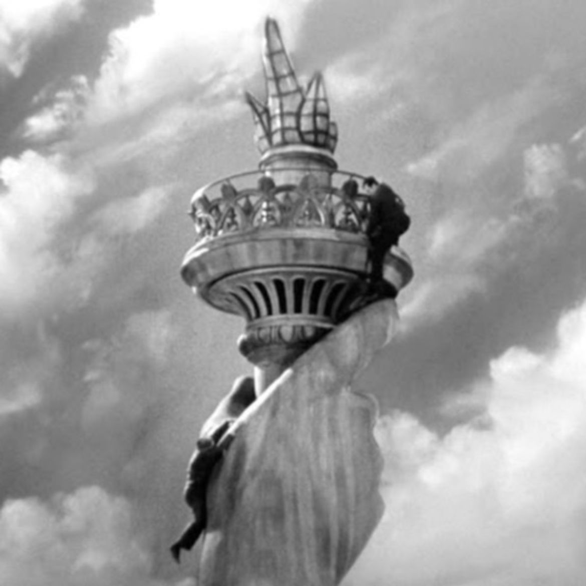 Cover Photo: Scene at the Statue of Liberty, from ending of 'Saboteur,' Alfred Hitchcock 1942.