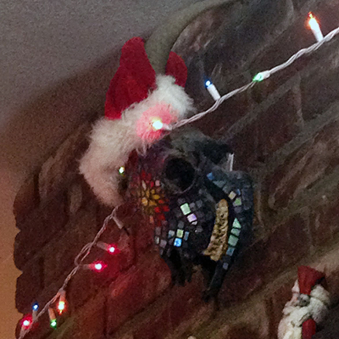 Cover Photo: Every year, my mom puts a santa hat on our mosaic'd goat skull that hangs on our mantelpiece.